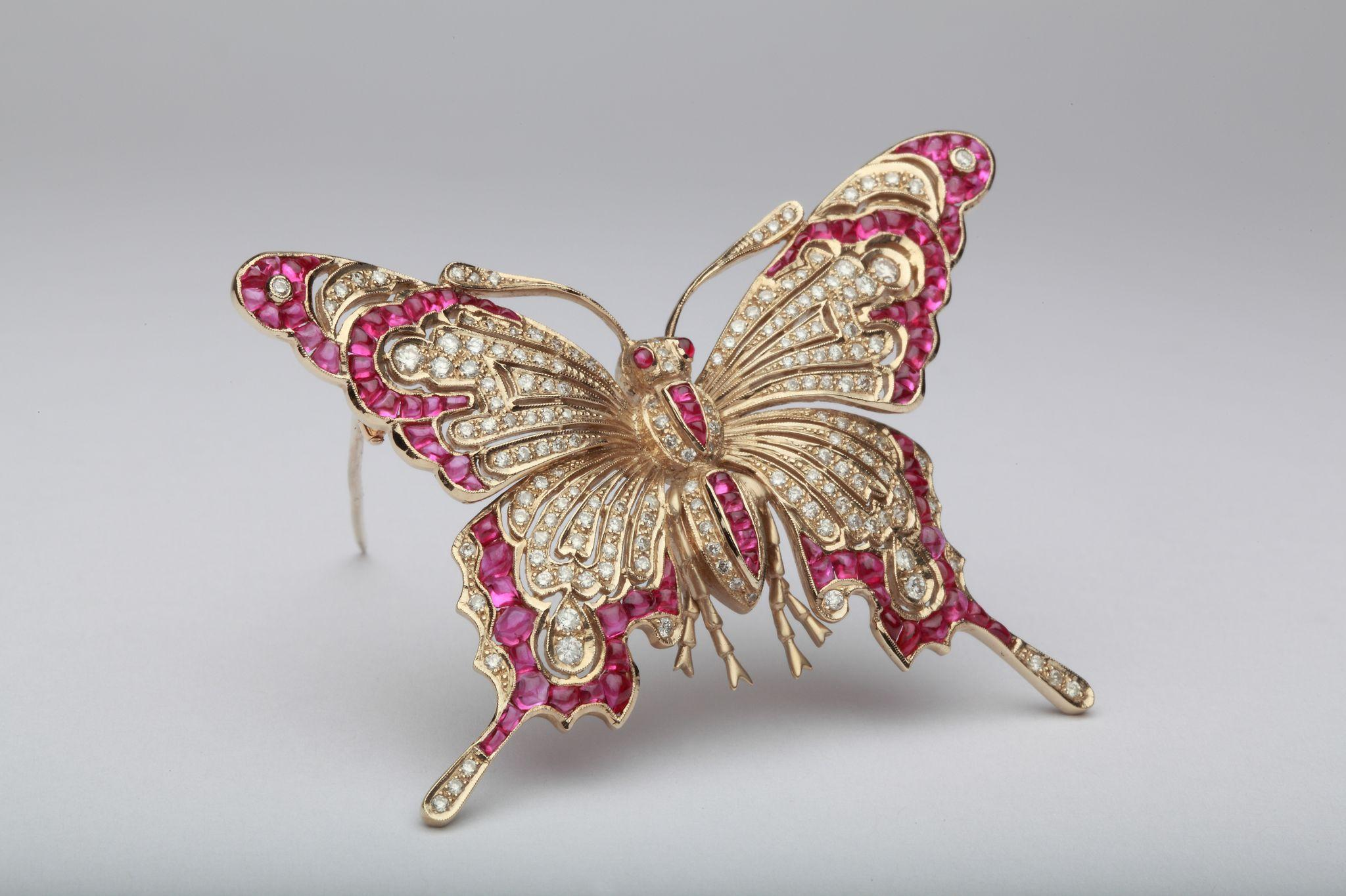 Ruby And Diamond Gold Butterfly Brooch From Art1900 On Rubylux