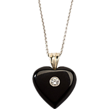 Heart Onyx Pendant with Chain