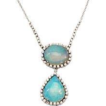 Splendid Double Opal and Diamond Gold Pendant