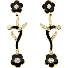 Charming Onyx and Diamond Earrings