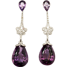 Handsome Amethyst and Diamond Pendant Earrings