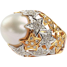 An Attractive Pearl and Diamond Ring