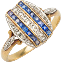 Art Deco Diamond Ring with Synthetic Sapphires
