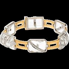 Art Deco Rock Crystal and Diamonds Bracelet