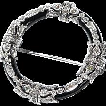 Fine Onyx and Diamond Gold Brooch