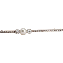Charming Pearl Diamond Gold Platinum Brooch