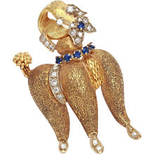 Sapphire and Diamond Gold Poodle Brooch