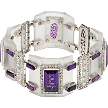 Art Deco Rock Crystal, Amethyst and Diamond Platinum Bracelet