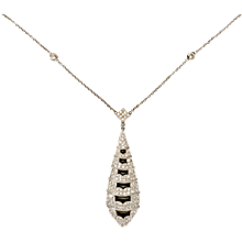 Excellent Onyx Diamond Gold Pendant with Chain