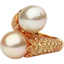 Double South Sea Pearl and Diamond Gold Cocktail Ring