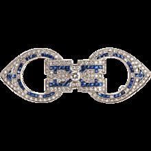 Art Deco Sapphire Diamond Gold Brooch