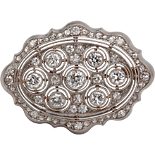 Stunning Diamond Gold Platinum Brooch