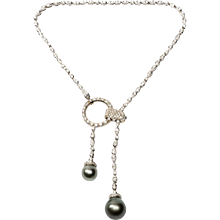 Boucheron Pearl and  Diamond Gold Pendant Necklace