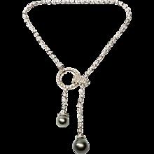 Boucheron Pearl and  Diamond Gold Pendant Necklace