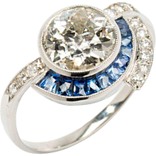 Platinum Ring with Diamonds and Sapphire