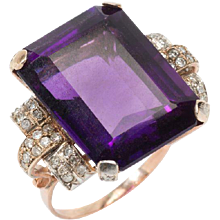 Large Amethyst Diamond Gold Ring