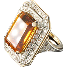 Large Citrine Diamond Silver Gold Ring