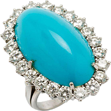 1950s Turquoise Diamond Gold Ring