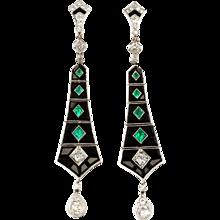 Art Deco Onyx Emerald Diamond Dangle Earrings