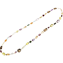 1930s Long Gemstone Gold Necklace