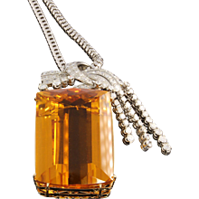 Magnificent Citrine Diamond Gold Pendant