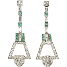 Art Deco Emerald Diamond Platinum Ear Pendants