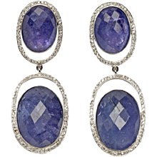 Tanzanite Diamond Gold Dangle Earrings