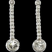 1920s  Diamond Platinum Dangle Earrings