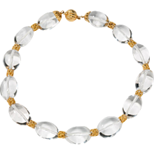 1960s Rock Crystal Gold Necklace