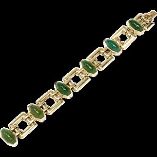 1930s Chrysoprase Gold Link Bracelet