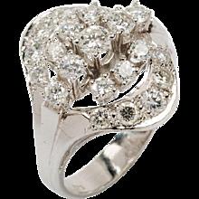 1950s Diamond Gold Cluster Ring
