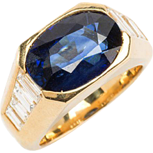 Sapphire Diamond Gold Cocktail Ring