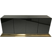 Black Glass and Brass Sideboard by Ello