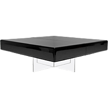 Black Lacquer Coffee Table with Perspex Base