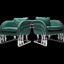 Milo Baughman Styled Green Armschairs