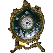 French 19th century fire gold-plated antique table clock circa 1830