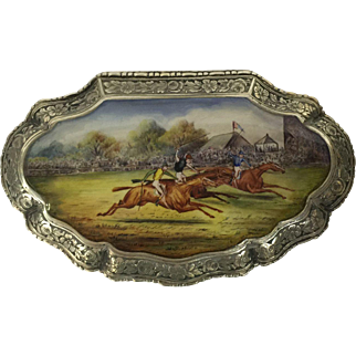 Silver & enamel pill box decorated with horses late 19th century