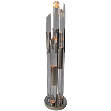 Sculptural standing lamp in lucite and nickled metal by Romeo Rega