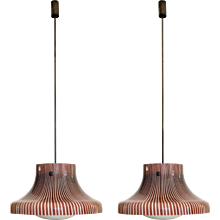 Pair of Pendant Lamps from Studio Venini, Murano, Italy