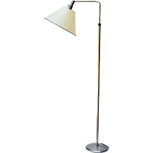 Wohnbedarf Floor Lamp in Nickeled Brass, 1940s