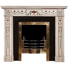 Inlaid Marble Mantelpiece in the Manner of Pietro Bossi