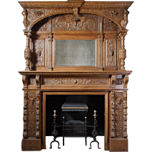 Carved Jacobean Oak Fireplace