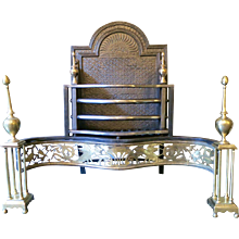 An Antique English Brass and Wrought Iron Fire Grate