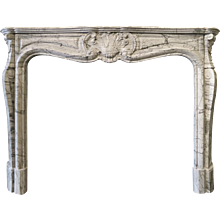Antique French Bleu Fleuri Marble fireplace
