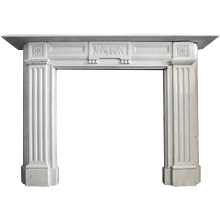 19th century Statuary White Marble Fireplace Mantel