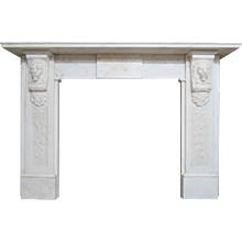 Antique Statuary White Marble Carved Fireplace