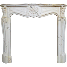 Antique French Louis XV Style Panazeau Marble Fireplace