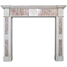 An Antique George III Jasper and Statuary Marble Fireplace Mantel