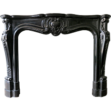 Antique French Belgian Black Marble Fireplace