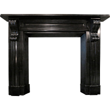 An Antique Early 19th Century Irish Black  Marble Fireplace